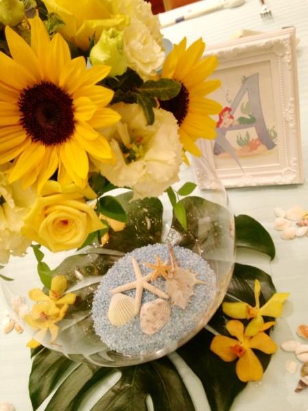 夏ウェディングの参考に V夏ならではの装花 を使って スタッフ